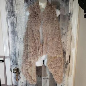 Kensie faux fur shaggy waterfall drape front vest